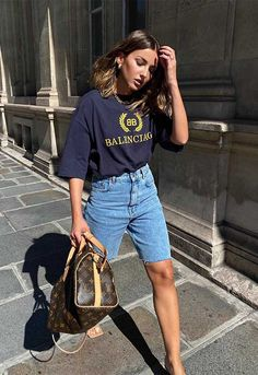 Black Shorts Outfit, Shorts Outfits Women, White Shorts, Trendy Summer Outfits, Simple Outfits, Casual Outfits, Tomboy Fashion, Denim Fashion, Alexandra Pereira