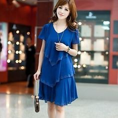 Women's Plus Size Solid Cultivating Chiffon Dress,V Neck Short Sleeve – USD $ 22.99