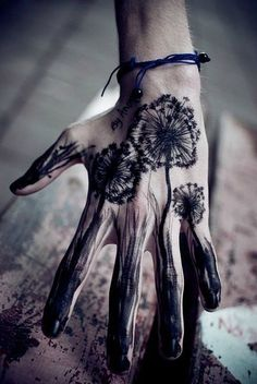 http://tattoo-ideas.us/wp-content/uploads/2013/11/Black-Dandelion-Hand-Tattoo.jpg Black Dandelion Hand Tattoo #BlackInk, #Handtattoos