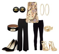 """One top, 2 Looks"" by scj0819 ❤ liked on Polyvore featuring Coast, Balenciaga, Dorothy Perkins, Rupert Sanderson, Prada, CA&LOU, Mulberry, Chanel, Roberta Chiarella and black and gold"
