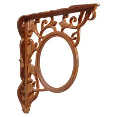 Circle Motif with Floral Scrollwork Cast Iron Shelf Bracket - Rust