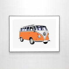 Volkswagen Type 2 T1 Samba Bus 1962 BIG POSTER 19x13 by loscadotte https://www.etsy.com/listing/270905493/volkswagen-type-2-t1-samba-bus-1962-big