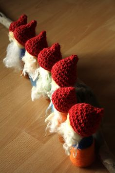 seven dwarfs (needle-felted with crochet hats) — Fig and Me