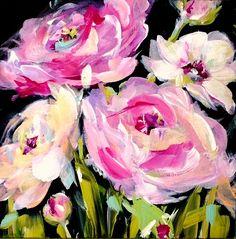 Black Canvas Paintings, Canvas Art, Flower Paintings, Oil Paintings, Abstract Flowers, Acrylic Flowers, Paint Flowers, Arte Floral, Acrylic Art