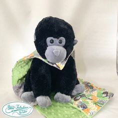 """Oh sew cuddly and comforting gorilla lovey with his very own minky dot and flannel """"cape""""