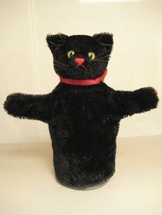 Steiff Vintage Black Tom Cat Hand Puppet – In time for Halloween!