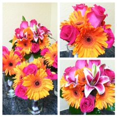 Bouquet of Hot Pink Roses, Orange Gerbera Daisies and Stargazer Lilies lavish unique chic modern Designed by Hassell Florist Clearwater, FL