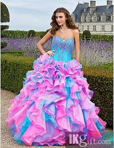 Fabulous Ball Gown Sweetheart Floor-length Organza With Beaded Embroidery And Cascading Ruffles Prom Dress @Mikayla Renae
