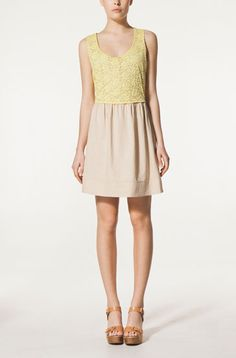crochet top dress+wood sandals - Massimo Dutti