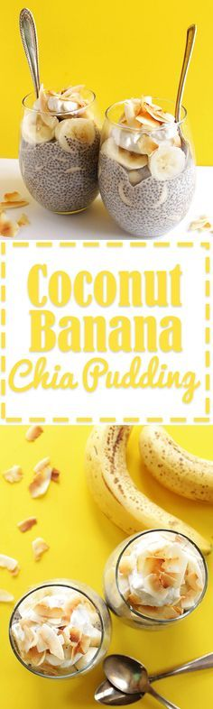 Coconut Banana Chia Seed Pudding - Coconut chia pudding with layers of sliced banana. This dessert recipe is so EASY to make, tastes great and is HEALTHY for you. Vegan/Gluten Free/ Omit honey for diabetics Coconut Chia Seed Pudding, Banana Chia Pudding, Banana Coconut, Chai Pudding, Toasted Coconut, Coconut Sugar, Protien Pudding, Pudding Corn, Suet Pudding