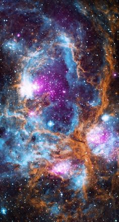 This composite image of NGC 6357 contains X-ray data from NASA's Chandra X-ray Observatory and the ROSAT telescope (purple), infrared data from NASA's Spitzer Space Telescope (orange), and optical … Planets Wallpaper, Wallpaper Space, Galaxy Wallpaper, Iphone Wallpaper, Nebula Wallpaper, Galaxy Space, Galaxy Art, Spitzer Space Telescope, Infrared Telescope