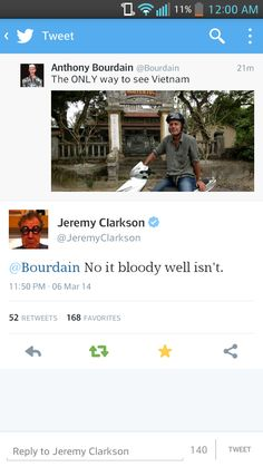 I have always thought that Anthony Bourdain is the American Jeremy Clarkson.