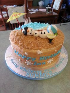 Frozen Olaf in Summer cake - so cute!