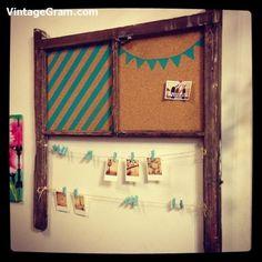 #recycled #upcycled #pinboard #repurposed #vintagelove #vintagewindow - http://www.vintagegram.com/recycled-upcycled-pinboard-repurposed-vintagelove-vintagewindow/