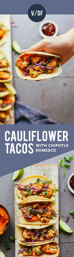 Cauliflower Tacos with Chipotle Romesco DELICIOUS Roasted Cauliflower Tacos with Adobo Romesco! 30 min, healthy, SO flavorful!DELICIOUS Roasted Cauliflower Tacos with Adobo Romesco! 30 min, healthy, SO flavorful! Tostadas, Enchiladas, Burritos, Cauliflower Tacos, Roasted Cauliflower, Cauliflower Recipes, Quesadillas, Baker Recipes, Cooking Recipes