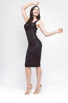 Gabriella Black Gold Midi Dress - £85 After the sell out of our Gabrielle Maxi we bring to you the Gabriella Midi in black with gold fleck Make an entrance in this stunning dress that clings to the body The ruched gathering on this midi softens the silhouette giving a flattering finish Features a low cut neckline but you can wear a bra with this style dress Its also fully lined on the body Stunning Dresses, Black Gold, Entrance, How To Make, How To Wear, Fashion Dresses, Neckline, Silhouette, Bra