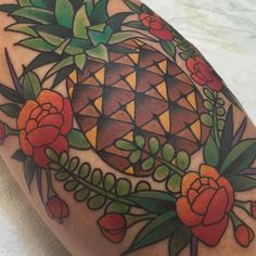 "capturedtattoo: "" #flashback tropical style on a rainy SoCal day. #pineapple made by @dansmithism #fbf (at Captured Tattoo) """