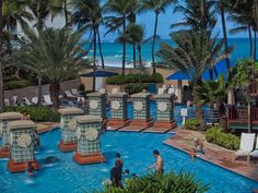 Pristine pools and an azure beach provide a great tropical getaway for gays and lesbians at the Marriott Stellaris Casino Resort, San Juan Puerto Rico. On our trip, we saw more queers than you can shake a stick at, and were treated well during our stay. (c) GTH & Nathan DePetris