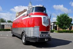 Futurliner c.1939    'The GM Futurliners were a group of stylized buses designed in the 1940s by Harley Earl for General Motors. They were used in GM's Parade of Progress, which traveled the United States exhibiting new cars and technology.'    - Wikipedia