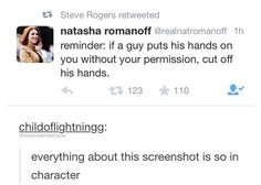 I bet Tasha would so do this in her own way. She doesn't necessarily have to cut his hands off to cut his hands off.