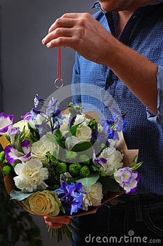 Man with flowers and love notes