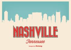Retro Style Nashville Tennessee Illustration