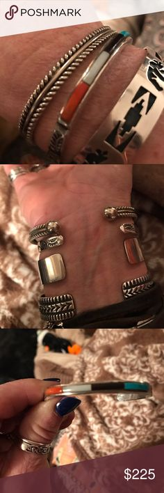 Lot of SS Native American cuffs Great condition Sterling silver Native American cuffs great to wear by itself or stacking. Turquoise, onyx, black mother of pearl and coral inlay Zuni cuff Jewelry Bracelets