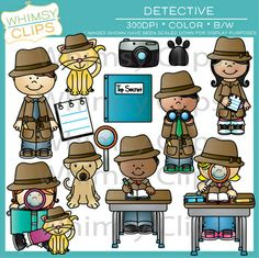 The detective clip art set contains 26 image files, which includes 13 color images and 13 black & white images in png and jpg. All images are 300dpi for better scaling and printing. $