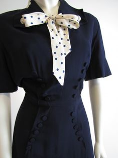 Vintage 40's WWII era Navy Blue Rayon Dress. Polka Dots Military Style