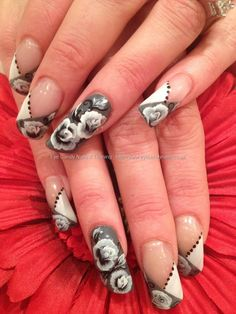 One Stroke Nail Art  grey and white nails ... Must took long to get them all done with  the roses