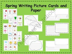 Spring Picture Cards and Writing Paper Center from Klever Kiddos on TeachersNotebook.com (16 pages)