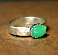 Australian Chrysoprase ring in sterling silver - La Petite Lime.   ...from LavenderCottage on Etsy