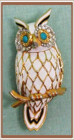 Rhinestone and enamel Jomaz owl pin