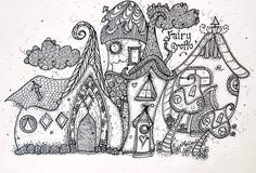Zentangle village doodle houses home building