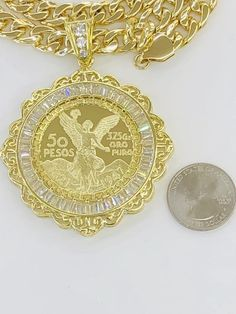 Gold Plated Centenario pendant with chain set for Sale in Glendale Heights, IL - OfferUp Glendale Heights, Coin Pendant, Diamond Earrings, Plating, Jewelry Accessories, Chicago, Gold Necklace, Pendants, Chain
