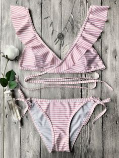 SHARE & Get it FREE | Striped Ruffles Strap Wrap String Bikini Set - PinkFor Fashion Lovers only:80,000+ Items • New Arrivals Daily Join Zaful: Get YOUR $50 NOW!