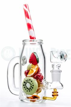 EMPIRE GLASSWORKS - WATERMELON MASON JAR MINI DAB RIG on KING's Pipe Online Headshop #420 #710