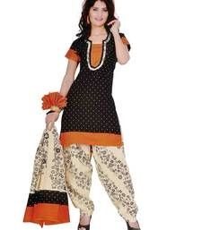 Buy Orange printed cotton semi stitched salwar with dupatta cotton-salwar-kameez online