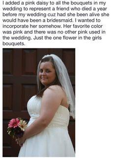 Pink Daisy, Wedding Memorial, Favorite Color, One Shoulder Wedding Dress, Bouquet, Bridesmaid, Memories, Wedding Dresses, Fashion