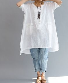 Loose Fitting Linen Shirt Blouse for Women White by deboy2000