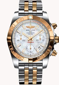 Breitling Men's Chronomat 41 Analog Display Swiss Automatic Two Tone Watch CB0140Y2/A743-378C