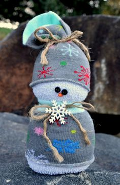 SOCK SNOWMAN BEANBAG - Poly Pellet Filled - No Rice - Teacher Hostess Gift - Home Christmas Winter Holiday Decoration -Snowflakes