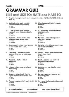 """""""Like/ Like to"""" and """"Hate/ Hate to"""" Grammar Quiz"""