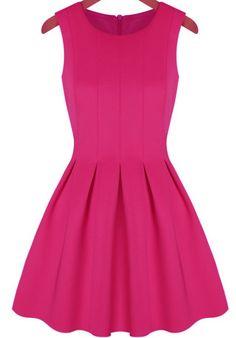 Pink Round Neck Sleeveless Pleated Flare Dress - Sheinside.com