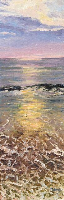 """Beach Colors. Original Cape Cod seascape. 4x12"""" - available"""
