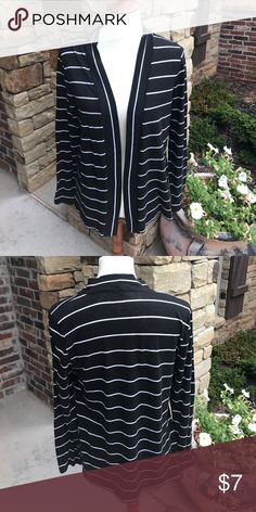 J Crew Factory open front cardigan Black with white stripe lightweight cardigan is made of 60% cotton 40% polyester and is machine washable. Has a tiny bit of piling. J.Crew Factory Sweaters Cardigans