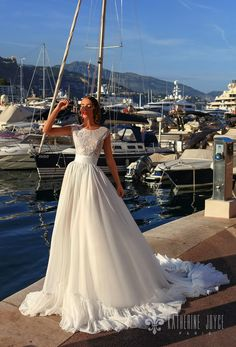katherine joyce 2018 bridal sleeveless jewel neck heavily embellished bodice romantic ball gown a  line wedding dress scoop back chapel train (mari) mv  -- Katherine Joyce 2018 Wedding Dresses