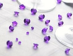 "LOT 5000 DIAMANT CONFETTIS PERLE CRISTAL ""VIOLET"" décoration table mariage"