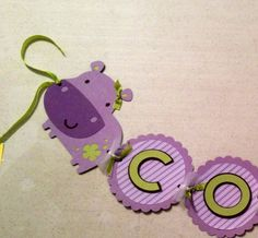 Purple and green Hippo Personalized Birthday by BNGCraftyCreations