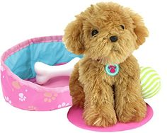 Puppy Dog Play Set Made with High Quality Fabrics/Materials Designer Doll Clothes & Affordably Priced! 10 Piece Set- Dog for Dolls made for American Girl Dolls, Madame Alexander, Sophia's Dolls & More! Includes Honey Colored Shaggy Dog. toys4mykids.com